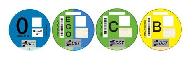 Pegatinas ambientales de la DGT