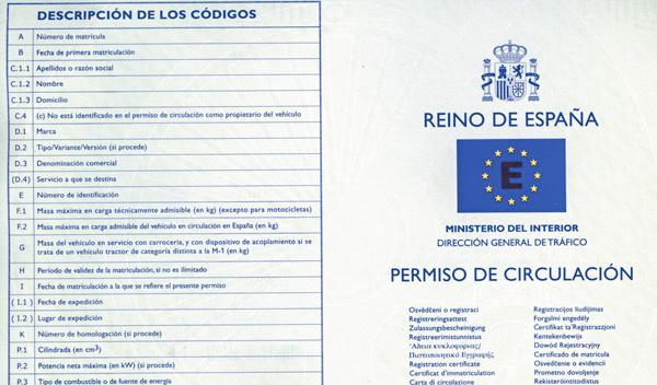documentación obligatorio : permiso de Circulación