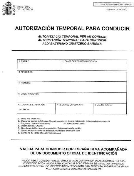 Carnet de conducir provisional