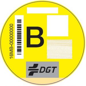 Pegatina DGT B amarilla
